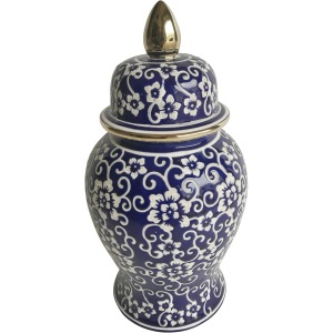 "14"" Temple Jar W/ Jasmine Flower, Blue & White"