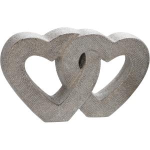 "10"" Ceramic Double Heart Table Deco, Silver"