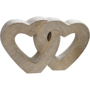 "10"" Ceramic Double Heart Table Deco, Champagne"