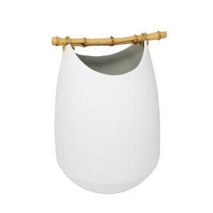 Ceramic Vase w/Bamboo Handles
