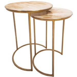 Metal Side Tables - Cream