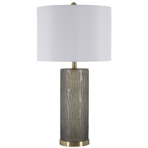 "Glass 30"" Cylindrical Table Lamp - Gray"
