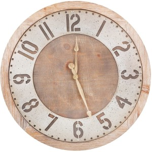 "Wood Metal 21"" Industrial Wall Clock - Brown"
