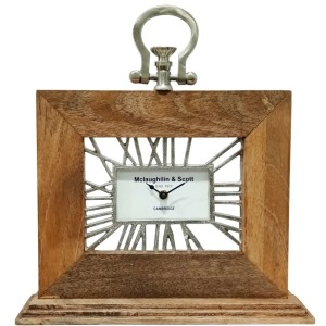 Mango Wood Table Clock - Natural