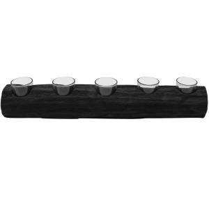 "Wood 23"" Log 5 Cup Tea Light Holder, Black"