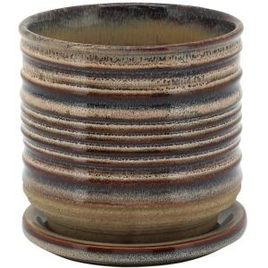 """Ceramic 5"""" Textured Planter w/Saucer - Multi"""