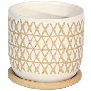 """Ceramic 5"""" Planter w/Saucer - Sand"""