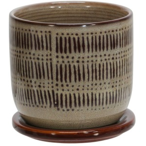 "Ceramic 5"" Lines Planter w/Saucer - Brown"