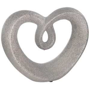 "Ceramic 8"" Beaded Heart Accent - Silver"
