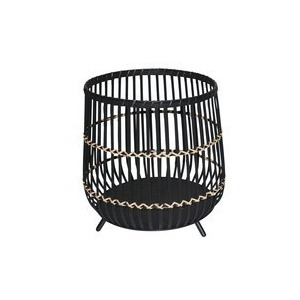 """17"""" Black Bamboo Footed Planter"""
