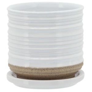 "Ceramic 5"" Planter w/Saucer - White"