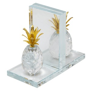 Crystal Pineapple Bookends - Clear