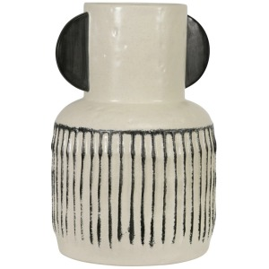 "Ceramic 12"" Eared Vase - White"