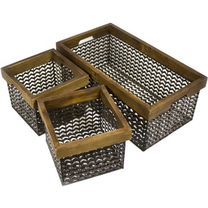 S/3 Wire Baskets, Brown