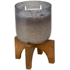 52 oz Candle on Smoke Foil Glass w/Stand - Liv & Sky