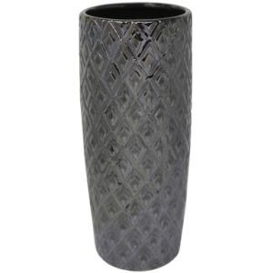 """Ceramic 13"""" H Weave Vase - Gray"""