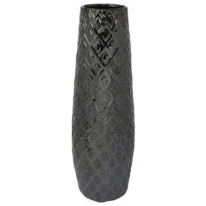 """Ceramic 17"""" H Weave Vase - Gray"""