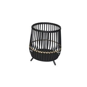 """14"""" Black Bamboo Footed Planter"""
