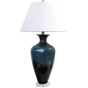 "Glass 35"" Urn Table Lamp - Blue Mix"