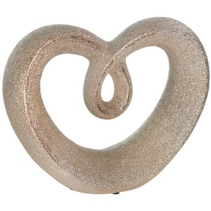 "Ceramic 8"" Beaded Heart Accent - Champagne"