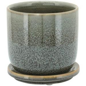 """Ceramic 5"""" Planter w/Saucer - Green"""