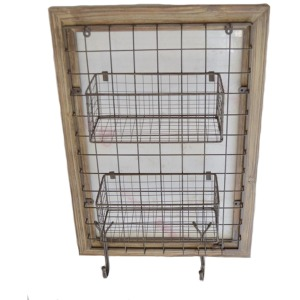 Wood Framed Metal Wall Baskets