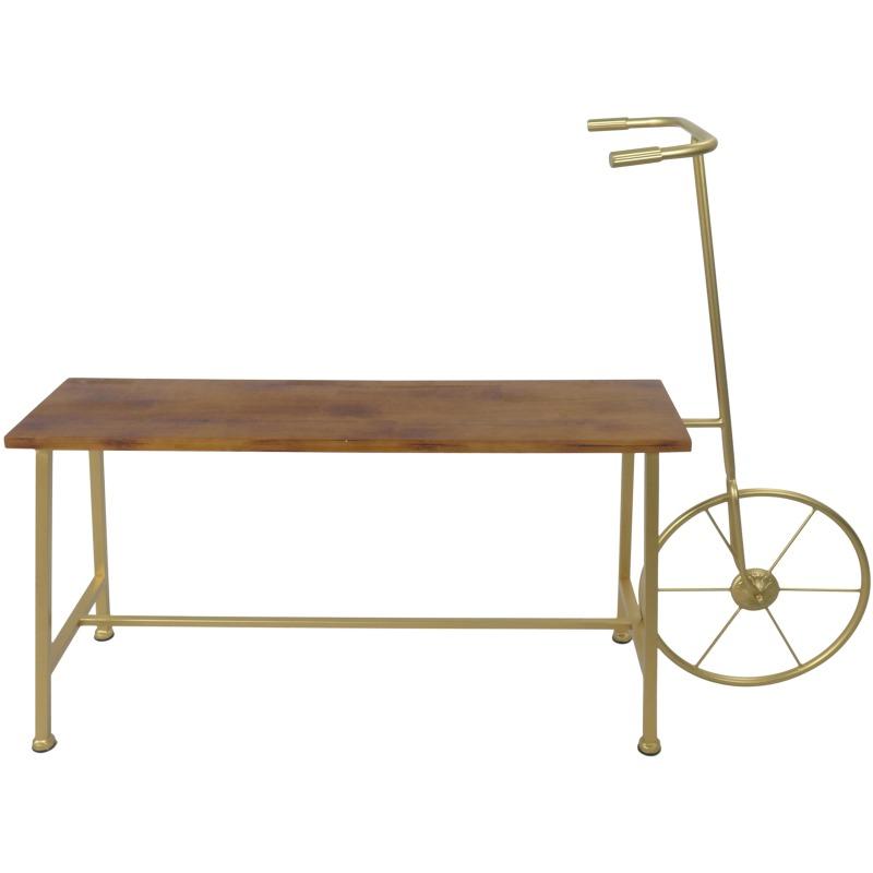 Gold Metal/wood Bicycle Bench, Kd