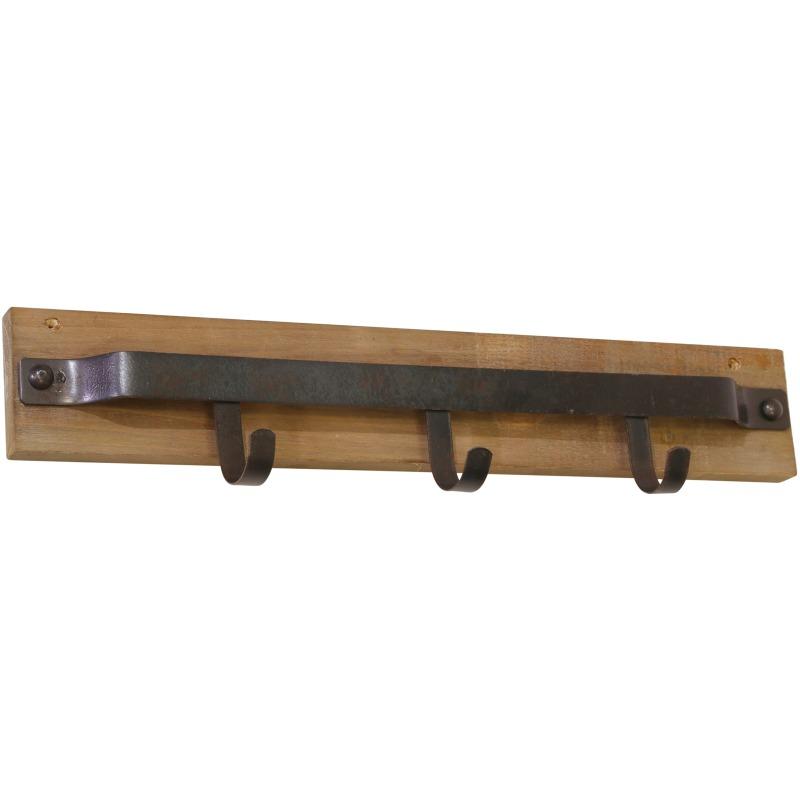 Metal & Wood 3 Hook Wall Hanger, Brown
