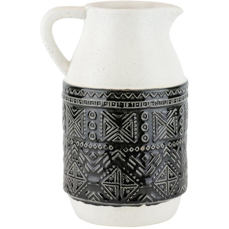 Ceramic Pitcher W/ Geometric Pattern, 10