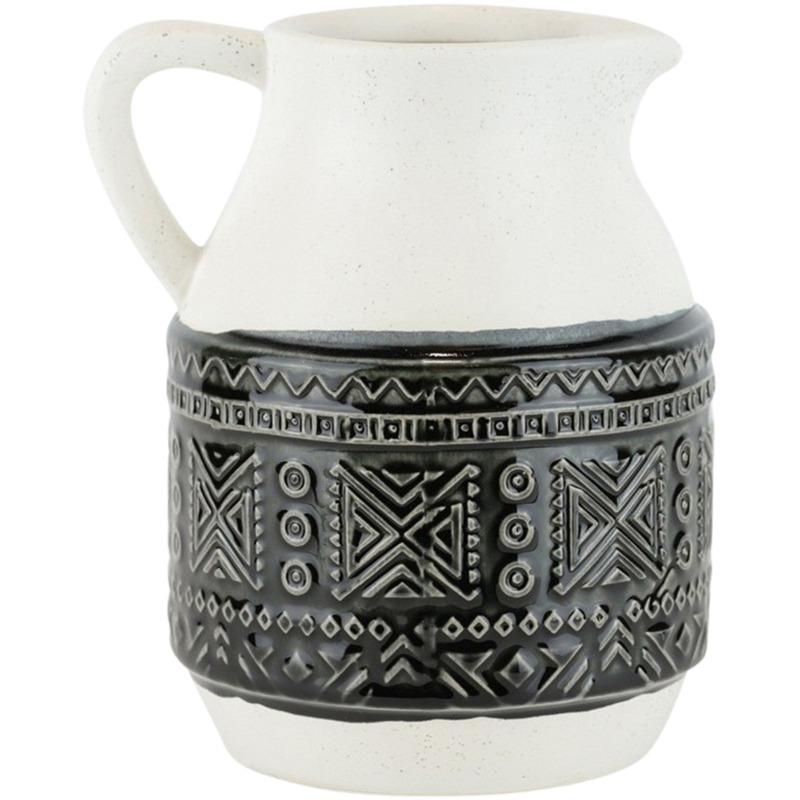 Ceramic Pitcher W Geometric Pattern, 8