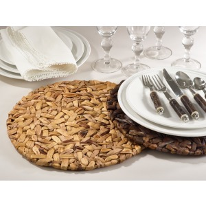 """Woven Placemat - 15""""  Round - Natural"""
