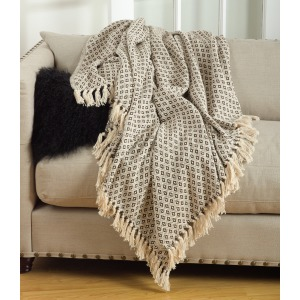Soft Cotton Diamond Weave Throw - Natural
