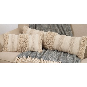 "Fringe Stripe Pillow 12""x40"" Oblong - Natural"