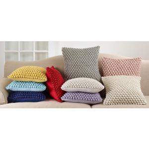 """Crochet Pompom Pillow 20"""" Square"""