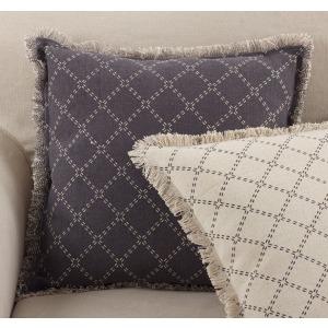 "Fringed Diamond Pillow 20"" Square - Slate"