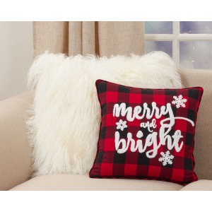 Buffalo Plaid Merry And Bright Pillow