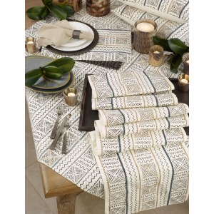"""Mudcloth Placemat - 14""""x20"""" White"""