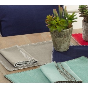Whip Stitched Design Placemat - Grey