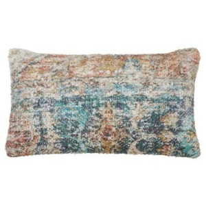 """Distressed Rug Pillow 14""""x25"""" Oblong - Rust"""