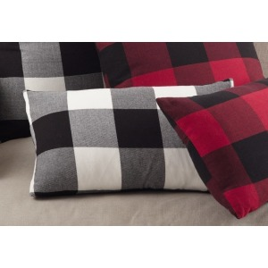 "Buffalo Plaid Pillow 13""x20"" Oblong - Black"