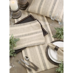 "Striped Woven Placemat - 14""x20"" - Ivory"