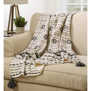 Block Print Embroidered Throw - Ivory