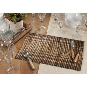 "Striped Water Hyacinth Placemat - 14""x20"" Black"