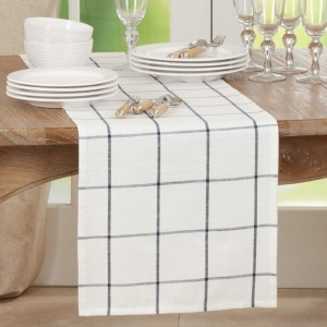"Plaid Runner - 16""x72"" - Oblong - White"