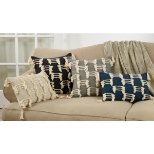 "Tri-line Frayed Pillow 14""x23"" Oblong"