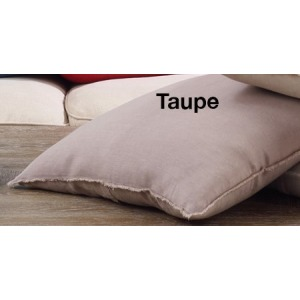 """Fringed Design Linen Pillow 20"""" Square - Taupe"""