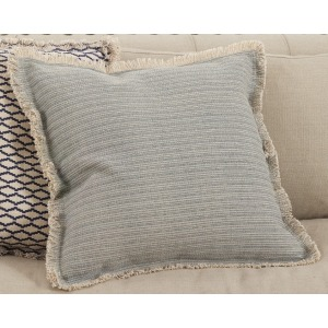 """Fringed Pinstriped Pillow 20"""" Square - Blue Grey"""