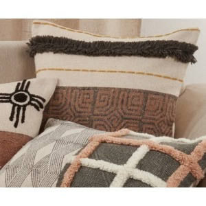 "Printed + Embroidered Pillow 20"" Square - Mocha"