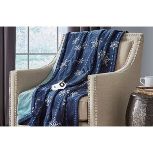 Silky Plush Heated Electric Throw Snowflake Navy