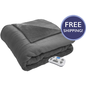 Silky Plush Heated Blanket Gray